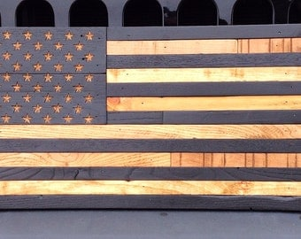 """Wooden American Flag  Reclaimed Wood Burned Distressed Hand Carved Stars Subdued Battle Flag 19.5"""" X 37"""""""