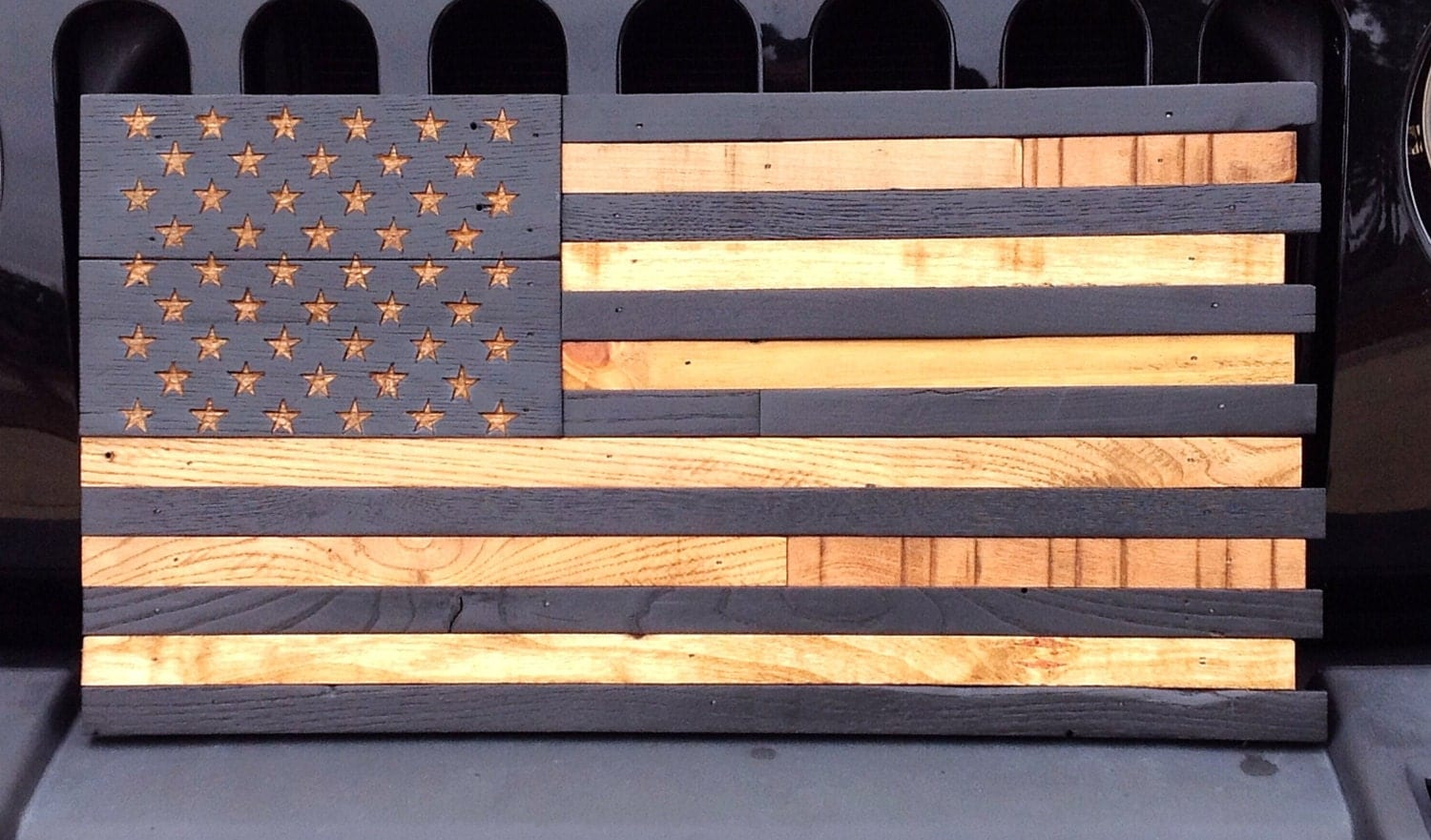 Wooden American Flag Reclaimed Wood Burned Distressed Hand