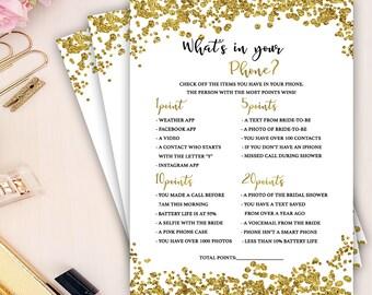 gold foil confetti bridal shower game, what's in your phone bridal Shower game, gold confetti bridal shower games, bachelorette party