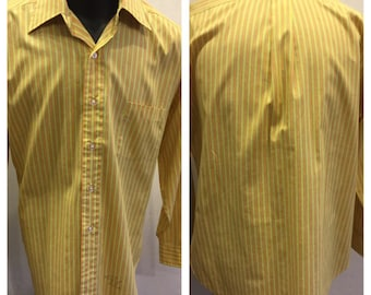 Vintage 1970's mens Long Sleeve Shirt size 16-32 Orange and Yellow Kings Road Shop Sears 50/50 cotton-poly