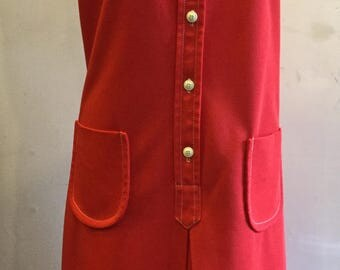 Vintage 1970's Red poly Dress size 16 by Contima
