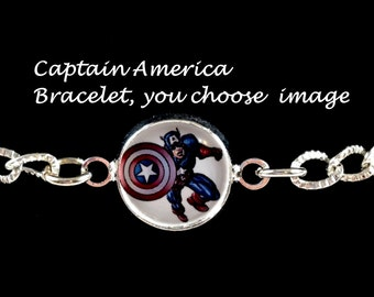 Captain America bracelet,you choose image,captain america charm bracelet,jewelry,necklaces,earrings,captain america gifts,marvel charms
