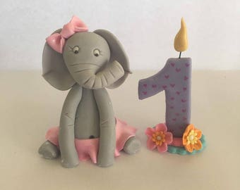 Elephant with number fondant cake topper
