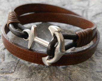 mens leather bracelet mens anchor bracelet mens bracelet mens gift for him brother gift for men husband gift wrap bracelet boyfriend jewelry