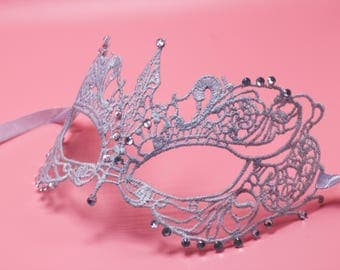 Fifty Shades Darker Silver gray Lace Mask with Rhinestones Masquerade Mask Sexy Lace Mask Mardi Gras /Party/Carnival/Halloween