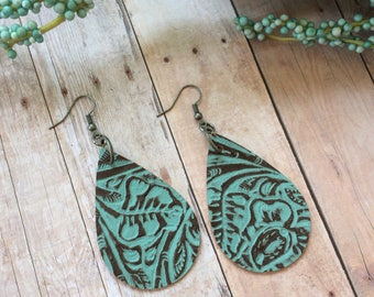 Teardrop leather earrings, aqua embossed leather teardrop earrings, aqua embossed leather earrings