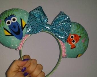 Finding Dory Ears, Finding Nemo Ears, Mickey Ears, Minnie Ears, Mickey Mouse, Minnie Mouse, Disney themed Ears, Ears, Dory, Nemo
