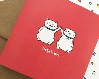 Anniversary card, cat anniversary card, Engagement card, Cat engagement card - cat love card - Cat Valentine - Romantic cat card - cat lover