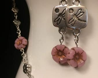 Dragonfly Garden Necklace and Earrings