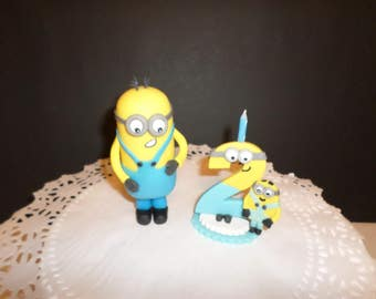 minions inspired candle numbers and cake topper