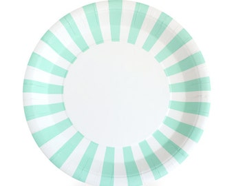 Mint Green Dinner Plates / Stylish Design Plates / Mint Striped Party Plates