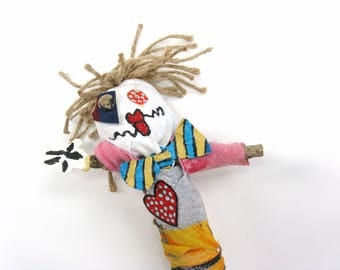 Voodoo Doll Made From Mixed Media and Found Objects, Pin Doll or Poppet, Art Figure with Blonde Hair and a Bowtie, Novelty Gift