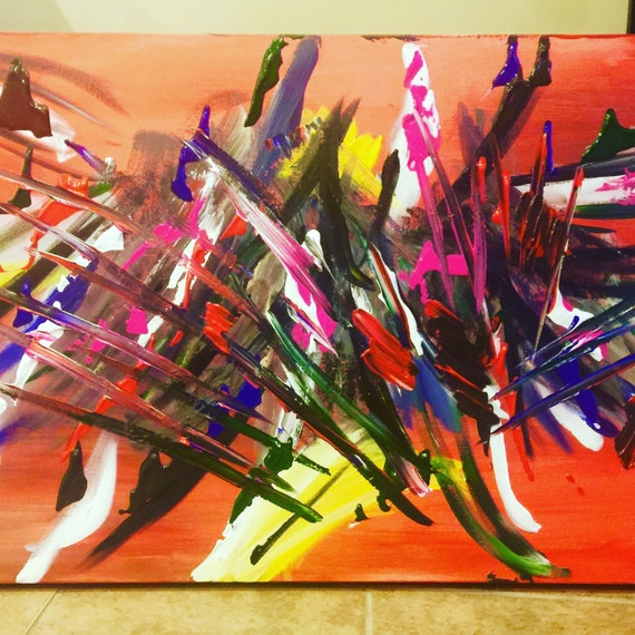 Mixed Media Original Abstract Painting 40 x 60 'Magnetic'