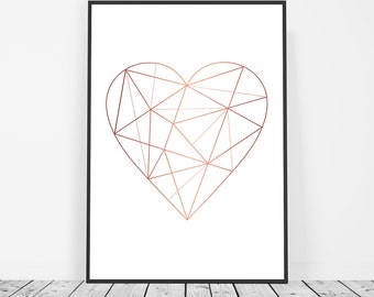 Rose Gold Decor, Rose Gold Wall Art, Geometric Poster, Geometric Heart Art, Valentines Gift, Faux Rose Gold Foil Rose Gold Art Print Affiche