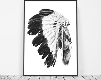 Indian Headdress Print, Tribal Print Poster, Tribal Art, Headdress Home Decor, Headdress Art, Tribal Decor, Tribal Wall Art, Boho Wall Art
