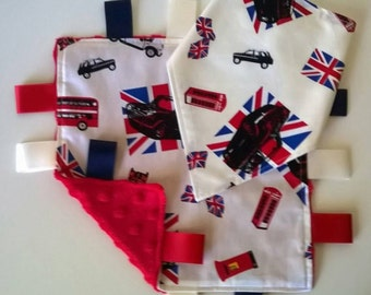 Cool Britannia Design Taggy Blanket and Bandana Bib Set