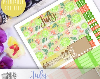 50% OFF! ERIN CONDREN July Monthly View Kit – Printable Planner Stickers