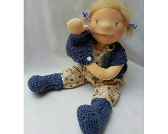 Waldorf style doll, about 50 cm. Waldorf style pop, about 50 cm.