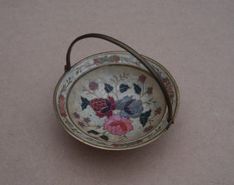 Brass Bowl/Dish - Painted Floral Design- Vintage Brass