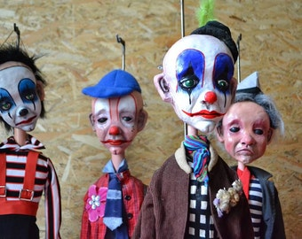 kit Marionette  Sad Clown  Professional Puppet Art Doll Puppet KIT Full