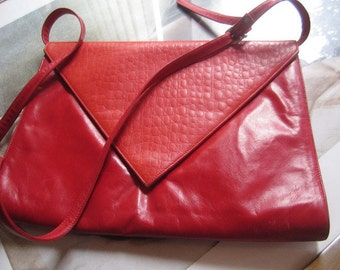 Vintage leather bag purse clutch red leather bag clutch Stefanini