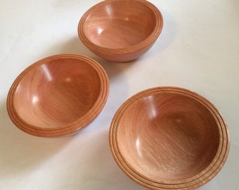 Set of three turned wooden bowls, handmade from recycled Australian hardwood timber