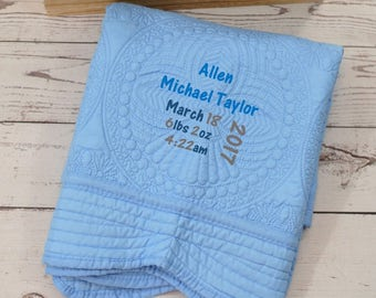 Personalized Baby Blanket-Monogrammed Baby Blanket-Embroidered Baby Quilt-Personalized Baby Quilt-Monogrammed Baby Quilt-Keepsake