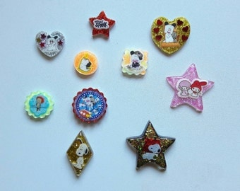 Lot 10 Cabochon resin stickers incorporated-Hello Spank! -Snoopy-Little Twin Stars