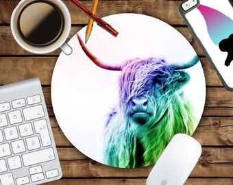 Highland Cow Mousepad - Mat - Round or Rectangle - Colorful - Rainbow Steed - Mouse pad Co worker Gift