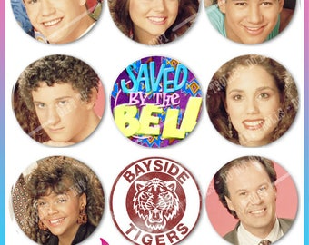 Saved by the bell - Pinback Button - 80's and 90's Tv Show - Sitcom - Saturday Mornings - Teen - Bayside High Tigers - Zach Morris - Screech