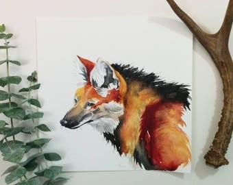 Maned Wolf, Watercolor Painting