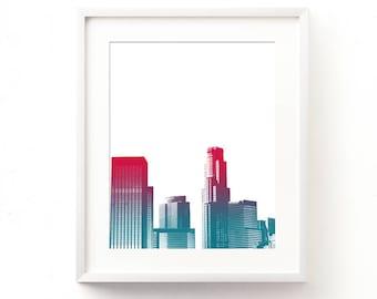 LA printable, California print, DTLA art, Los Angeles print, downloadable art, ombre, red, magenta, purple, blue, kids room wall art, city