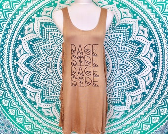 Phish Page Side Rage Side Tan Fringe Tank Dress