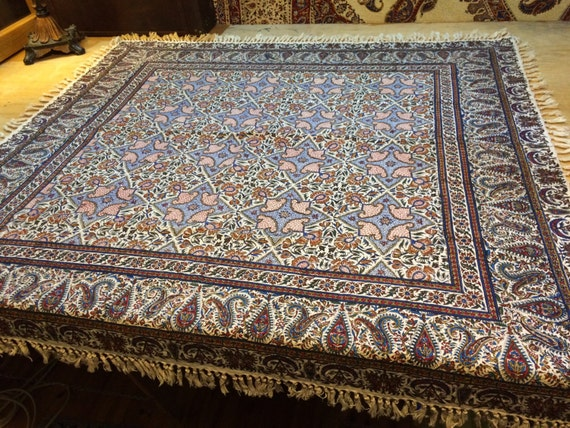 """Handmade 45"""" tapestry art, machine washable  square tablecloth, handprinted textile, block printed calico , wall hanging"""