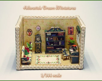Miniature roombox 1/144 scale, micro miniature fully artisan 1:144, Green Room miniature diorama, Victorian miniature.