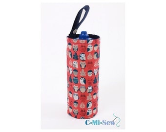 Bottle Holder made with owls / navy Fabric Kids School Bag