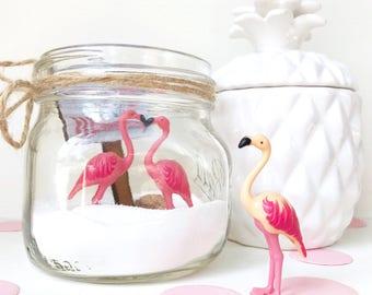 Flamingo mason jar, Flamingo gift, terrarium kits, beach lover, summer decor, pink flamingo, sand, teen girl gift, beach decor, diy gift kit