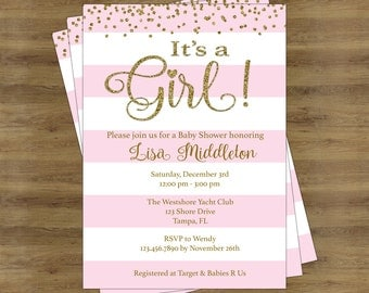 Pink and Gold Baby Shower Invites; Its a Girl Baby Shower Invitation Girl; Baby Shower Invitation for a Girl;  Gold and Pink Invitations