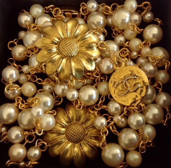 Vintage pearl necklace, multi-strand necklace, gold plated metal hardware with designer connector