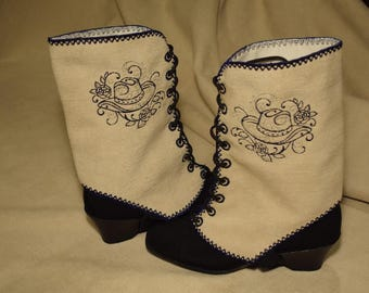 SPATS ~ GAITERS  Shoe Cover ~ Boot Cover Handmade Cowgirl Hat with Rose