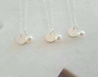 Boxed pearl bridesmaid necklace | initial disc | maid of honor flower girl | name necklace | Mother of the Bride | 30th | engraved silver