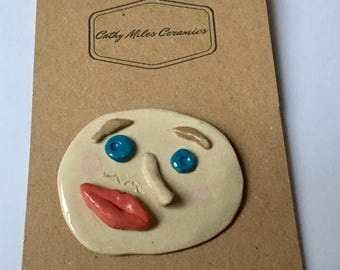SALE -Brooch ceramic picasso handmade badge pin