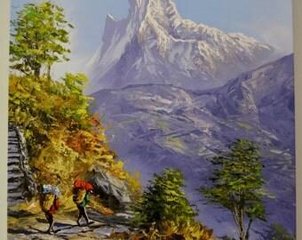 "Hand Painted Landscape 40cm X 55cm 16""X21"" Art Mountain Nepal Oil Painting Canvas Framed"
