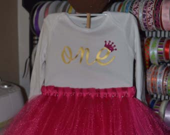 1st Birthday Outfit - Baby Girl Outfit - Pink and Gold