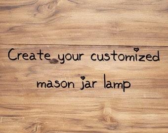 Customize mason jar lamp with shade. Large quart.
