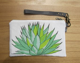 Century Plant Fabric Clutch - Zipper Pouch, Charcoal Leather Detachable Strap. Bridesmaid Gift, Gift for Her. Succulent Cactus Southwest