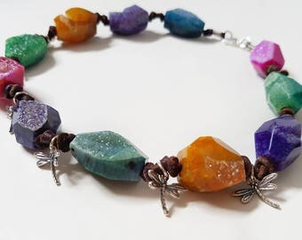 Agate Druzy Necklace. Rainbow Necklace. Silver necklace. Short necklace. Original necklace. Ethnic necklace. Druzy Necklace. Boho Necklace. Raw Stone