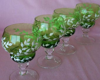 Hand painted//cordial glasses(4)//bridal shower//Christmas//house warming//birthday//gifts for her//Mother's Day//gifts//floral/anniversary