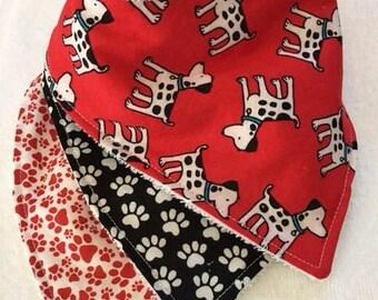 Bandana Bib Set - Dogs and Pawprints
