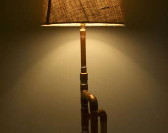 Recycled Copper Pipe Table Lamp - Burlap Shade